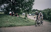 Bernhard 'Bernie' Eisel (AUT/Dimension Data) & Daniel McLay (GBR/Fortuneo-Vital Concept) up the first HC climb of the day; the Col de la Biche (10.5km @9%)<br /> <br /> 104th Tour de France 2017<br /> Stage 9 - Nantua › Chambéry (181km)