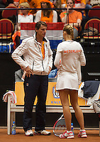 The Netherlands, Den Bosch, 16.04.2014. Fed Cup Netherlands-Japan, Arantxa Rus (NED) with captain Paul Haarhuis<br /> Photo:Tennisimages/Henk Koster