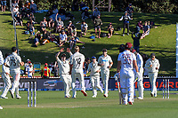 NZ's Kyle Jamieson celebrates his fifth wicket during day two of the second International Test Cricket match between the New Zealand Black Caps and West Indies at the Basin Reserve in Wellington, New Zealand on Friday, 11 December 2020. Photo: Dave Lintott / lintottphoto.co.nz