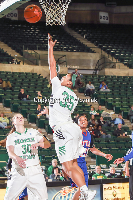 North Texas Mean Green guard Loryn Goodwin (35) in action during the game between the Texas Arlington Mavericks and the North Texas Mean Green at the Super Pit arena in Denton, Texas. UTA defeats UNT 59 to 50...