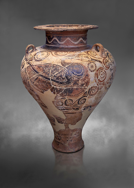 Three handled Palace Style pictoral Mycenaean amphora with aquatic bird motifs, Mycenaean cemetery, Argive Deiras, 15 cnt BC, National Archaeological Museum Athens. Cat no 5650.  Grey art Background <br /> <br /> This Mycenaean vase is one of the first examples of Mycenaean pictoral pottery created from Minoan influences.