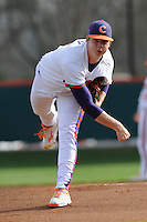Starting Pitcher Kevin Brady #19 of the Clemson Tigers warms up before a game against the North Carolina Tar Heels at Doug Kingsmore Stadium on March 9, 2012 in Clemson, South Carolina. The Tar Heels defeated the Tigers 4-3. Tony Farlow/Four Seam Images.