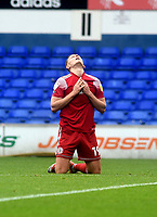 Accrington Stanley's Colby Bishop frustrated at missing a chance at goal<br /> <br /> Photographer Hannah Fountain/CameraSport<br /> <br /> The EFL Sky Bet League One - Ipswich Town v Accrington Stanley - Saturday 17th October 2020 - Portman Road - Ipswich<br /> <br /> World Copyright © 2020 CameraSport. All rights reserved. 43 Linden Ave. Countesthorpe. Leicester. England. LE8 5PG - Tel: +44 (0) 116 277 4147 - admin@camerasport.com - www.camerasport.com