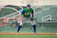 Lexington Legends first baseman Brandon Dulin (31) on defense against the Kannapolis Intimidators at Kannapolis Intimidators Stadium on July 14, 2016 in Kannapolis, North Carolina.  The Kannapolis Intimidators defeated the Lexington Legends 4-2.  (Brian Westerholt/Four Seam Images)