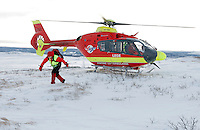 Norwegian Air Ambulance helicopter and crew.<br /> <br /> Pilot Knut Olav Sundbrei.
