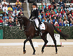 April 25, 2014: High Times and Jennifer McFall compete in Dressage at the Rolex Three Day Event in Lexington, KY at the Kentucky Horse Park.  Candice Chavez/ESW/CSM