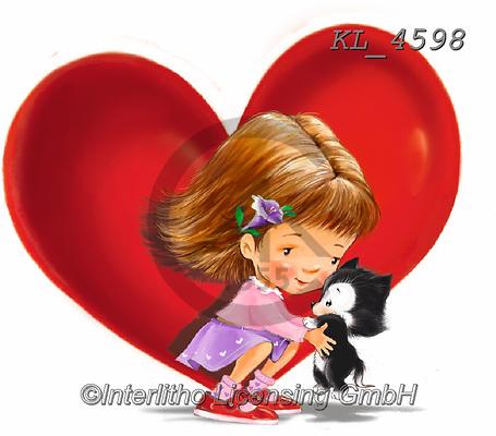 Interlitho-Fabrizio, Comics, VALENTINE, VALENTIN, paintings+++++,girl,cat,heart,KL4598,#v#, EVERYDAY ,sticker,stickers