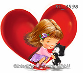 Interlitho-Fabrizio, Comics, VALENTINE, VALENTIN, paintings+++++,girl,cat,heart,KL4598,#v#, EVERYDAY ,sticker,stickers