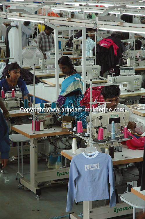 Wokers at Srinidhi's garment stitching factory in Tirupur, Tamilnadu. After lifting of quota system in textile export on 1st january 2005. Tirupur has become the biggest foreign currency earning town of India.