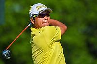 6th June 2021; Dublin, Ohio, USA; Hideki Matsuyama (JPN) watches his tee shot on 1 during the Memorial Tournament final round at Muirfield Village Golf Club