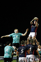 Luke Frost of London Scottish claims the line out during the Greene King IPA Championship match between London Scottish Football Club and Nottingham Rugby at Richmond Athletic Ground, Richmond, United Kingdom on 7 February 2020. Photo by Carlton Myrie.