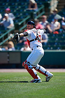 Rochester Red Wings catcher Mitch Garver (47) throws to third base during a game against the Scranton/Wilkes-Barre RailRiders on June 7, 2017 at Frontier Field in Rochester, New York.  Scranton defeated Rochester 5-1.  (Mike Janes/Four Seam Images)
