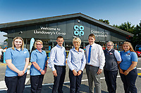 Store staff (L-R) Honor Sanders, Shell Fuga, Paul Richardson, Sue Yelland, manager Gethin Adams, Angharad Morgan and Yasmin Yelland