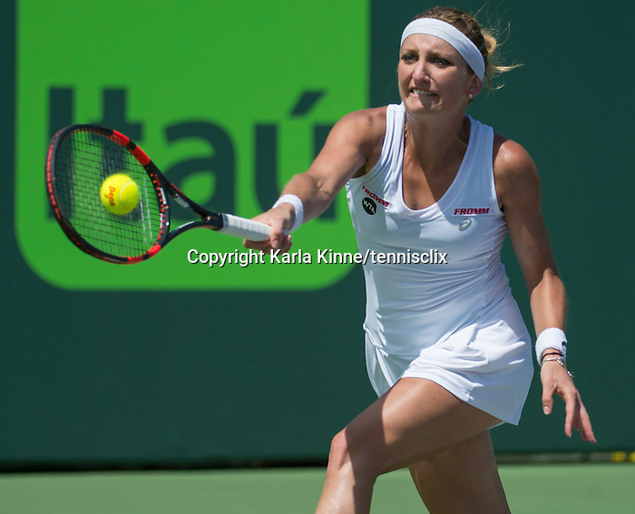 March 31 2016: Timea Bacsinszky (SUI) loses to Svetlana Kuznetsova (RUS) 7-5, 6-3, at the Miami Open being played at Crandon Park Tennis Center in Miami, Key Biscayne, Florida.