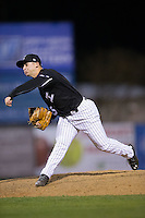 Kannapolis Intimidators relief pitcher Alex Katz (25) follows through on his delivery against the Hickory Crawdads at Kannapolis Intimidators Stadium on April 8, 2016 in Kannapolis, North Carolina.  The Crawdads defeated the Intimidators 8-2.  (Brian Westerholt/Four Seam Images)