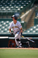 Pittsburgh Pirates Hunter Owen (2) hits a double during an Instructional League game against the Baltimore Orioles on September 27, 2017 at Ed Smith Stadium in Sarasota, Florida.  (Mike Janes/Four Seam Images)