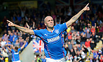 Nicky Law celebrates after his opener against Albion Rovers in the Ramsdens Cup