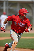 Philadelphia Phillies Logan O'Hoppe (6) runs to first base during an exhibition game against the Canada Junior National Team on March 11, 2020 at Baseball City in St. Petersburg, Florida.  (Mike Janes/Four Seam Images)