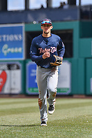 Cavan Biggio (6) of the New Hampshire Fisher Cats jogs off the field during a game against the Hartford Yard Goats at Dunkin Donuts Park on April 8, 2018 in Hartford, Connecticut. (Gregory Vasil/Four Seam Images)