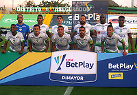 BOGOTA - COLOMBIA, 21-11-2020: Jugadores de La Equidad posan para una foto, antes partido entre La Equidad y Deportivo Cali, de la fecha 13 por la Liga BetPlay DIMAYOR 2020, jugado en el estadio Metropolitano de Techo en la ciudad de Bogota. / Players of La Equidad pose for a photo prior a match La Equidad and Deportivo Cali, of the 13th date for BetPlay DIMAYOR League 2020 at the Metropolitano de Techo stadium in Bogota city. / Photo: VizzorImage  / Daniel Garzon / Cont.