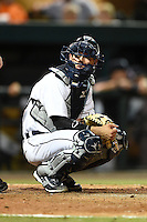 Lakeland Flying Tigers catcher Austin Green (30) during a game against the Tampa Yankees on April 3, 2014 at Joker Marchant Stadium in Lakeland, Florida.  Tampa defeated Lakeland 4-0.  (Mike Janes/Four Seam Images)