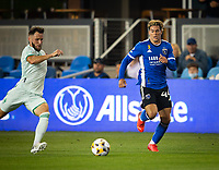 SAN JOSE, CA - SEPTEMBER 4: Cade Cowell during a game between Colorado Rapids and San Jose Earthquakes at PayPal Park on September 4, 2021 in San Jose, California.