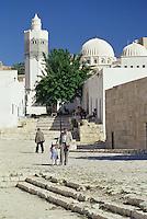 Tunisia, Le Kef.  Boumakhlouf Mosque, Minaret, Man and Boy.