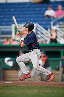 Lowell Spinners second baseman Jarren Duran (44) at bat during a game against the Batavia Muckdogs on July 16, 2018 at Dwyer Stadium in Batavia, New York.  Lowell defeated Batavia 4-3.  (Mike Janes/Four Seam Images)