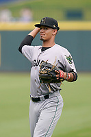 Third baseman Vaughn Grissom (14) of the Augusta GreenJackets before a game against the Columbia Fireflies on Tuesday, May 25, 2021, at Segra Park in Columbia, South Carolina. (Tom Priddy/Four Seam Images)