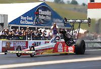 Jun 21, 2015; Bristol, TN, USA; NHRA top fuel driver Doug Kalitta during the Thunder Valley Nationals at Bristol Dragway. Mandatory Credit: Mark J. Rebilas-