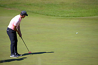 Harry Na's putt sits on the edge of the 9th hole. Day two of the Renaissance Brewing NZ Stroke Play Championship at Paraparaumu Beach Golf Club in Paraparaumu, New Zealand on Friday, 19 March 2021. Photo: Dave Lintott / lintottphoto.co.nz