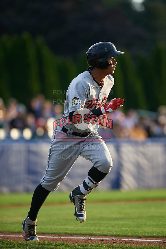 Tri-City ValleyCats shortstop Miguelangel Sierra (13) runs to first base during a game against the Batavia Muckdogs on July 14, 2017 at Dwyer Stadium in Batavia, New York.  Batavia defeated Tri-City 8-4.  (Mike Janes/Four Seam Images)