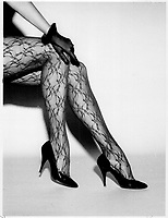 1986 FILE PHOTO - ARCHIVES -<br /> <br /> <br /> Fashion<br /> Fun patterns: Above; opaque pantyhose with graffiti pattern; $58.50.<br /> <br /> 1986<br /> <br /> PHOTO :  Erin Comb - Toronto Star Archives - AQP