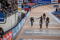 Sonny Colbrelli (ITA/Bahrain-Victorius) wins the sprint against Florian Vermeersch (BEL/Lotto Soudal) and Mathieu van der Poel (NED/Alpecin Fenix) <br /> <br /> 118th Paris-Roubaix 2021 (1.UWT)<br /> One day race from Compiègne to Roubaix (FRA) (257.7km)<br /> <br /> ©kramon
