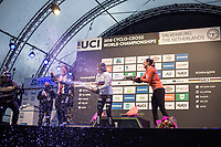 champaign shower for the (re)new(ed) World Champion Sanne Cant (BEL)<br /> <br /> Women Elite Race<br /> UCI CX Worlds 2018<br /> Valkenburg - The Netherlands