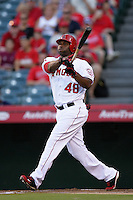 Los Angeles Angels outfielder Torii Hunter #48 bats against the Seattle Mariners at Angel Stadium on July 9, 2011 in Anaheim,California. (Larry Goren/Four Seam Images)