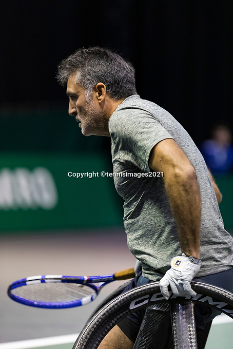 Rotterdam, The Netherlands, 5 march  2021, ABNAMRO World Tennis Tournament, Ahoy,  First round wheelchair: Stephane Houdet (FRA) Photo: www.tennisimages.com/