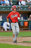 Jack Kruger (34) of the Orem Owlz follows through on his swing against the Ogden Raptors during the Pioneer League game at Lindquist Field on September 9, 2016 in Ogden, Utah. This was Game 1 of the Southern Division playoff. Orem defeated Ogden 6-5. (Stephen Smith/Four Seam Images)