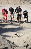 Pictured: Forensic archaeologists and Hellenic Red Cross volunteers go through soil at the site where Ben Needham disappeared from in Kos, Greece. Friday 14 October 2016<br />Re: Police teams led by South Yorkshire Police are searching for missing toddler Ben Needham on the Greek island of Kos.<br />Ben, from Sheffield, was 21 months old when he disappeared on 24 July 1991 during a family holiday.<br />Digging has begun at a new site after a fresh line of inquiry suggested he could have been crushed by a digger.