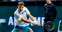 Rotterdam, The Netherlands, 15 Februari 2020, ABNAMRO World Tennis Tournament, Ahoy, <br /> Pablo Carreno Busta (ESP), Felix Auger-Alissime (CAN).<br /> Photo: www.tennisimages.com