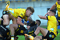Hurricanes' Jordie Barrett tackles Etene Nanai-Seturo during the Super Rugby Aotearoa match between the Hurricanes and Chiefs at Sky Stadium in Wellington, New Zealand on Saturday, 20 March 2020. Photo: Dave Lintott / lintottphoto.co.nz
