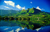 Enchanted Lakes area, Olomana and the Koolau Mountains, Kailua, Windward Oahu