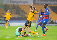 8th January 2021; Molineux Stadium, Wolverhampton, West Midlands, England; English FA Cup Football, Wolverhampton Wanderers versus Crystal Palace; Crystal Palace Goalkeeper Jack Butland gets down to catch the ball as Fabio Silva of Wolverhampton Wanderers comes in to take a shot at goal