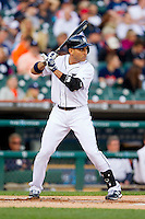 Omar Infante (4) of the Detroit Tigers at bat against the Tampa Bay Rays at Comerica Park on June 4, 2013 in Detroit, Michigan.  The Tigers defeated the Rays 10-1.  Brian Westerholt/Four Seam Images