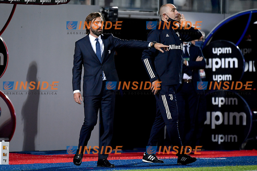Andrea Pirlo coach of Juventus FC and Igor Tudor react during the Serie A football match between FC Crotone and Juventus FC at stadio Ezio Scida in Crotone (Italy), October 17th, 2020. Photo Federico Tardito / Insidefoto