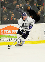 29 December 2007: Holy Cross Crusaders' defenseman Matt Burke, a Senior from Milton, MA, in action against the University of Vermont Catamounts at Gutterson Fieldhouse in Burlington, Vermont. The Catamounts rallied in the final seconds of play to tie the game 1-1. After overtime, although the official result remained a tie game, the Cats moved up to the championship round by winning a sudden death shootout in the second game of the Sheraton/TD Banknorth Catamount Cup Tournament...Mandatory Photo Credit: Ed Wolfstein Photo