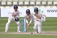 Jake Libby in batting action for Worcestershire as Adam Wheater looks on from behind the stumps during Worcestershire CCC vs Essex CCC, LV Insurance County Championship Group 1 Cricket at New Road on 2nd May 2021