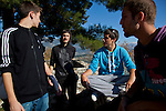Greek students from left: Konstantinos Vartziotis,18, Dinos Athanasiou,18, Andreas Nasios,18, and Christos Dimitriadis,18, relax from their lessons near by the Ioannina lake.