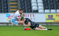 24th April 2021; Liberty Stadium, Swansea, Glamorgan, Wales; Rainbow Cup Rugby, Ospreys versus Cardiff Blues; Owen Lane of Cardiff Blues is tackled by Keiran Williams of Ospreys
