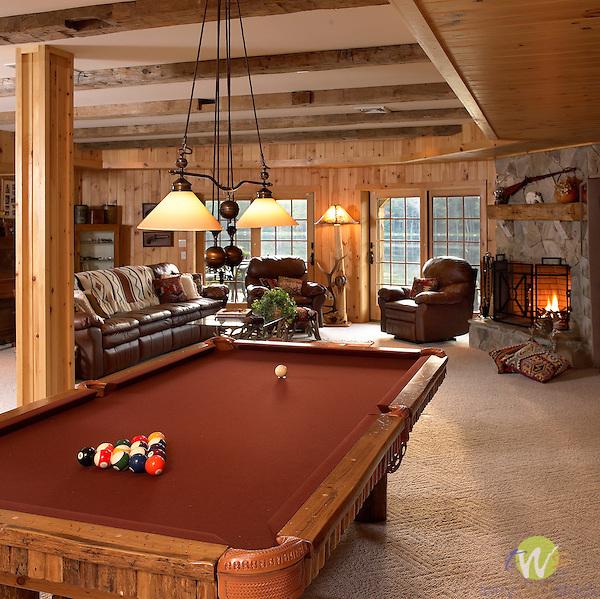 Interior of log Home.Alta Ind, Hewlett, New York
